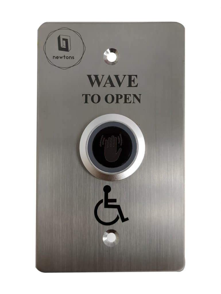 Wave to open hand sensor button for door automation